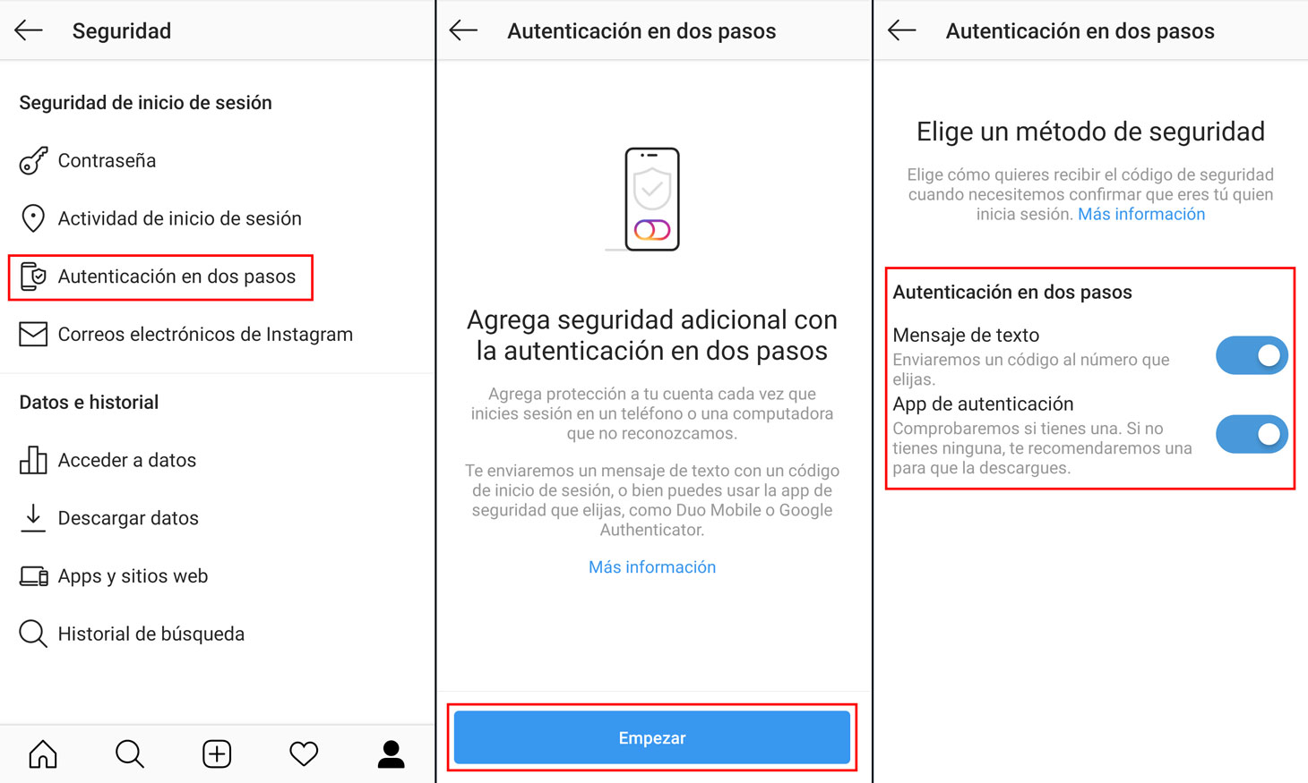 Cómo configurar la 2FA en la aplicación de Instagram.