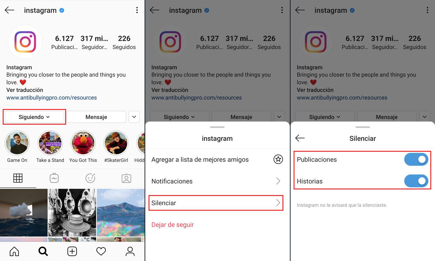Cómo silenciar usuarios en Instagram