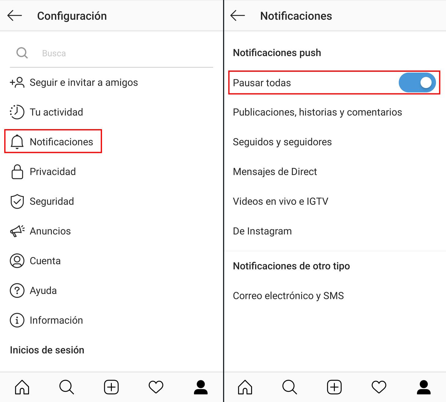Cómo bloquear las notificaciones emergentes en la aplicación de Instagram
