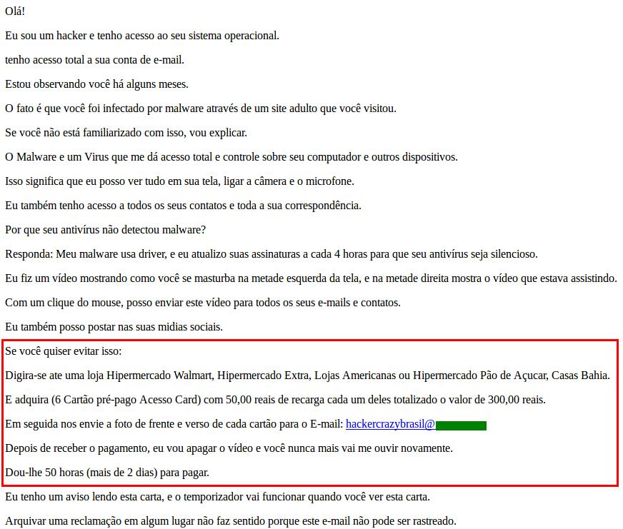 Un mensaje de correo electrónico de sextorsión que exige el pago de un rescate bajo la forma de tarjetas prepagas.