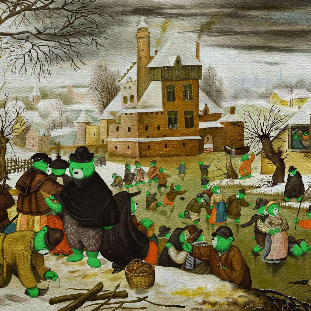 Pieter Brueghel el Joven. Paisaje invernal con patinadores sobre hielo.