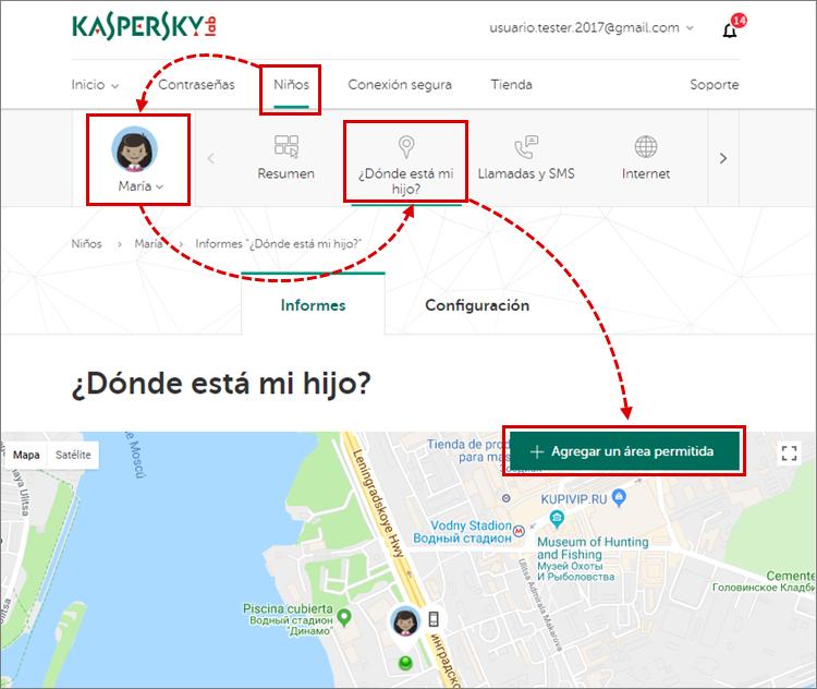 Cómo configurar las zonas seguras en Kaspersky Safe Kids con la supervisión de la ubicación
