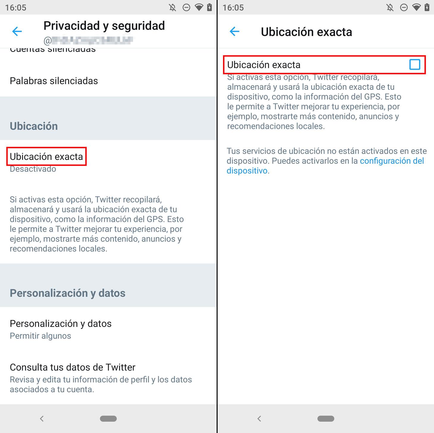 Cómo desactivar la geolocalización en la aplicación de Twitter.