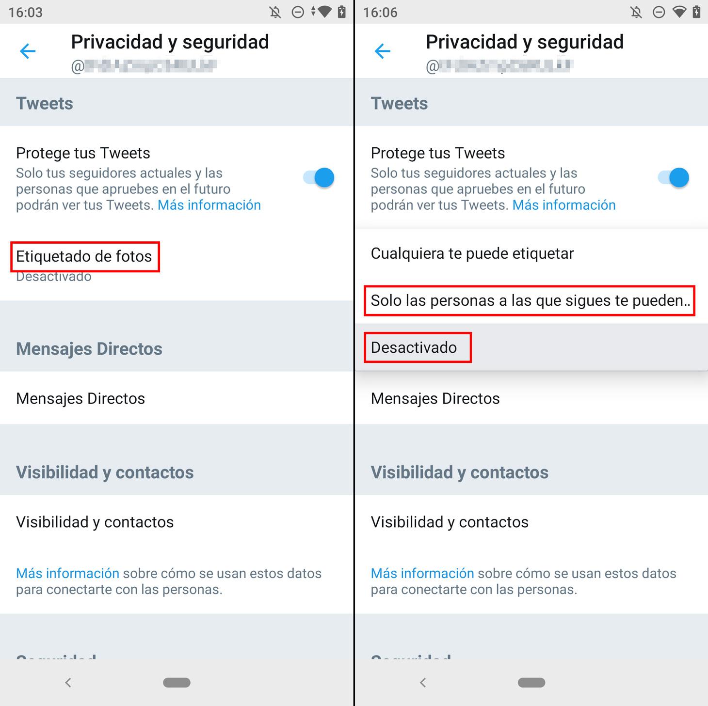 Cómo desactivar el etiquetado de fotos en Twitter.
