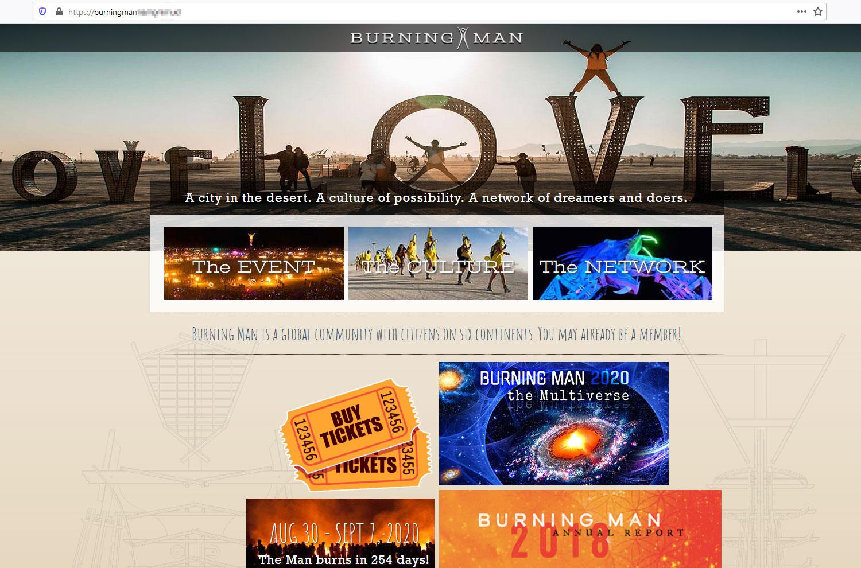 Página principal del sitio web falso.