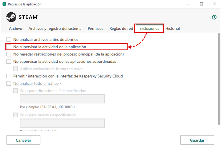 Cómo configurar las reglas y exclusiones para Steam en Kaspersky Internet Security