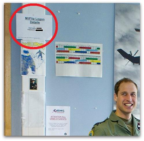"""Credenciales de inicio de sesión de MilFLIP decorando el interior. <a href=""""https://nakedsecurity.sophos.com/2012/11/21/prince-william-photos-password/"""">Fuente</a>"""