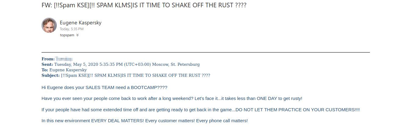Algunos mensajes de spam empresarial se dirigen a Eugene Kaspersky por su nombre.