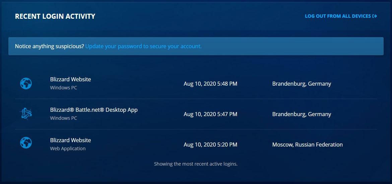 En el sitio web real de Blizzard se muestran la actividad reciente de inicio de sesión