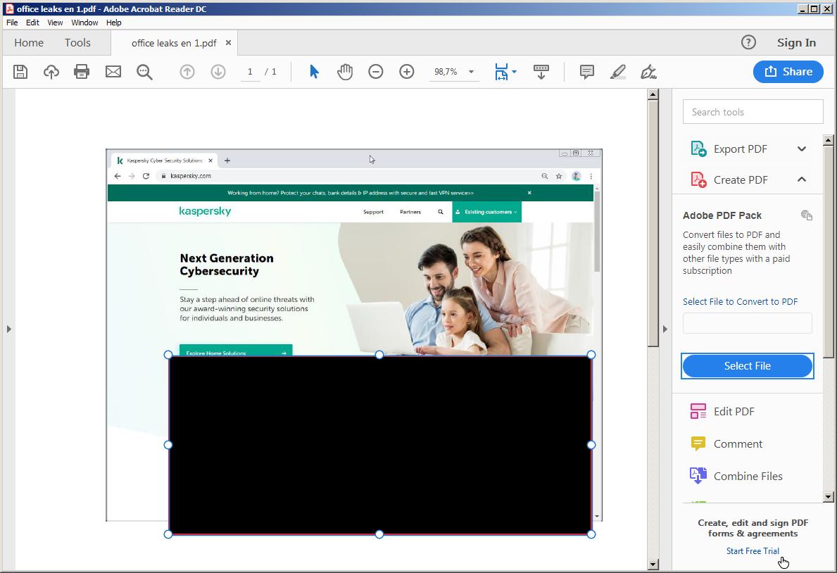 Cualquier usuario podría quitar fácilmente un rectángulo negro dibujado en Adobe Acrobat Reader.