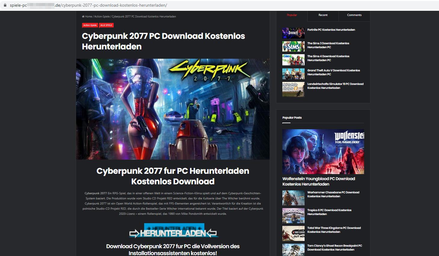 Sitio web en alemán, con un botón de descarga gigante (Herunterladen)