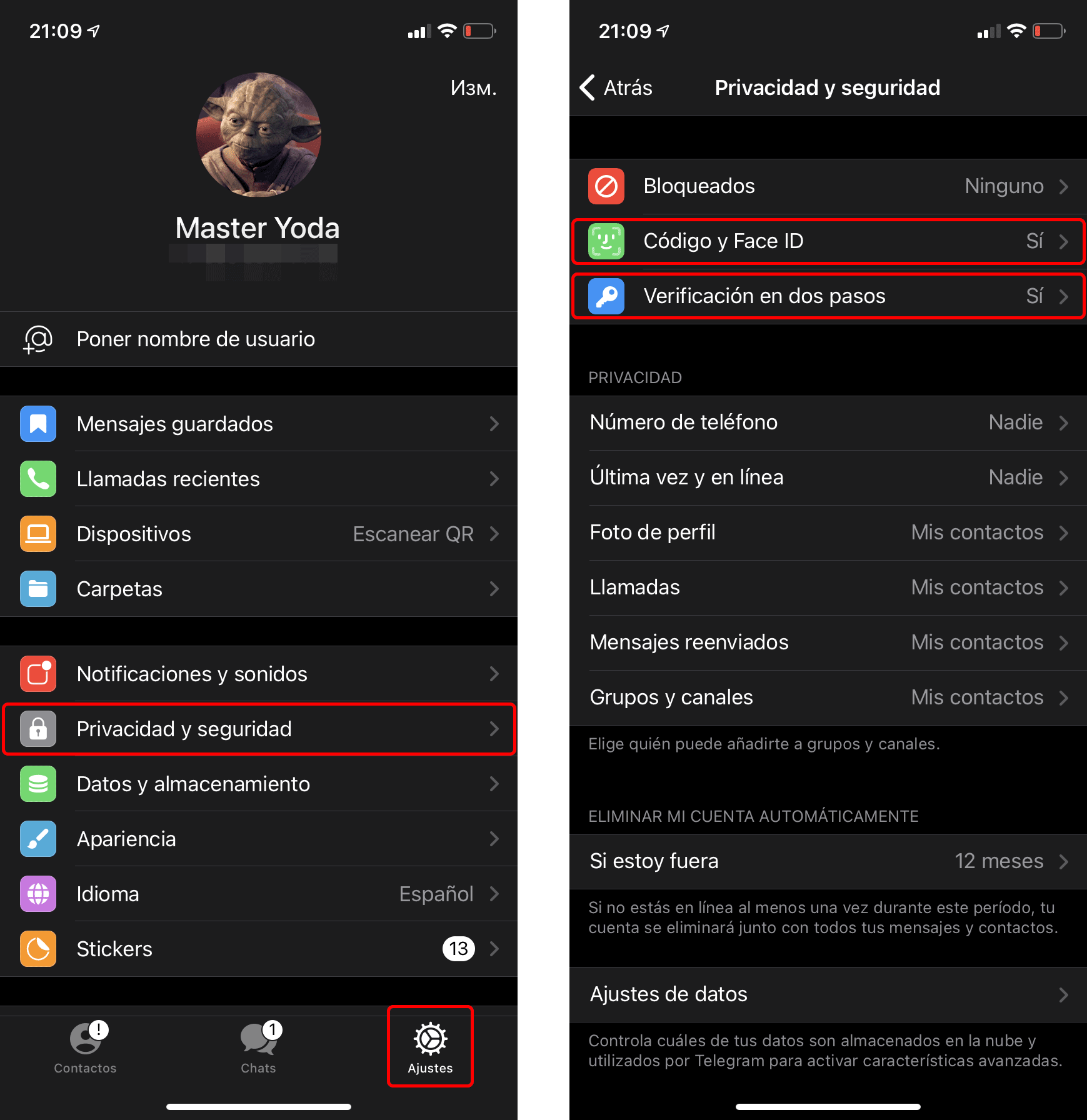 Cómo configurar la seguridad en Telegram