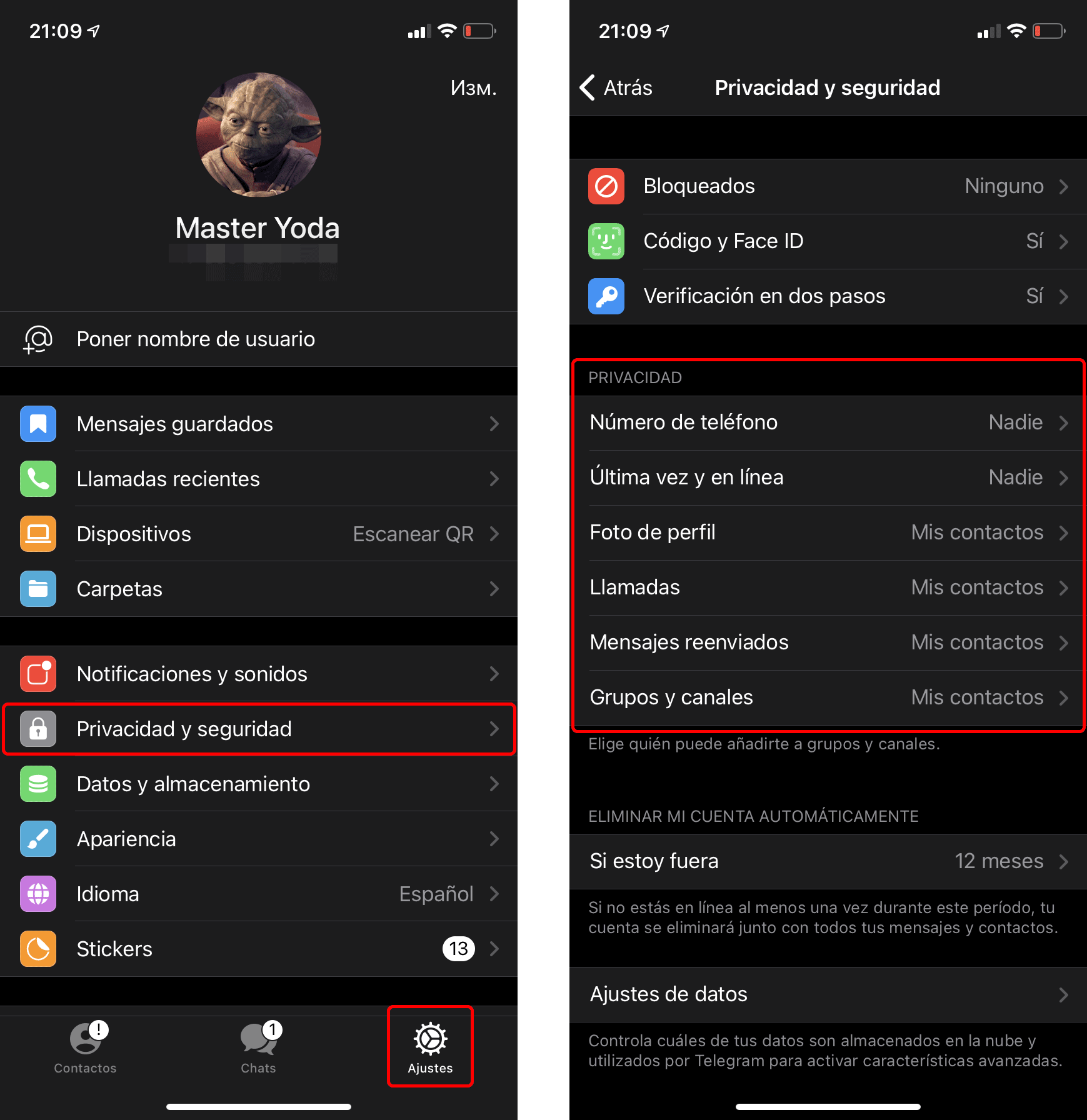 Cómo configurar la privacidad en Telegram