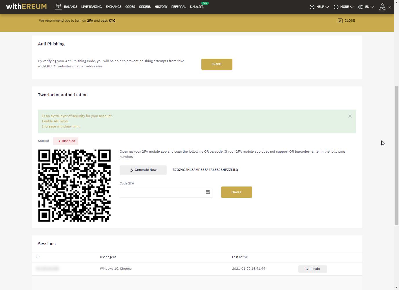 El sitio web insta a la víctima a activar el la autenticación de dos factores y la protección antiphishing.