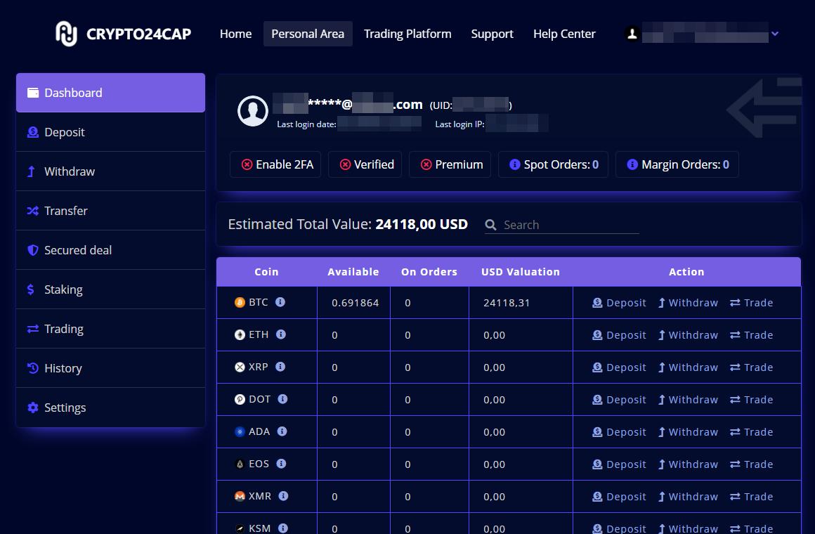 Así se ve el servicio de cambio de criptomoneda falso, Crypto24cap