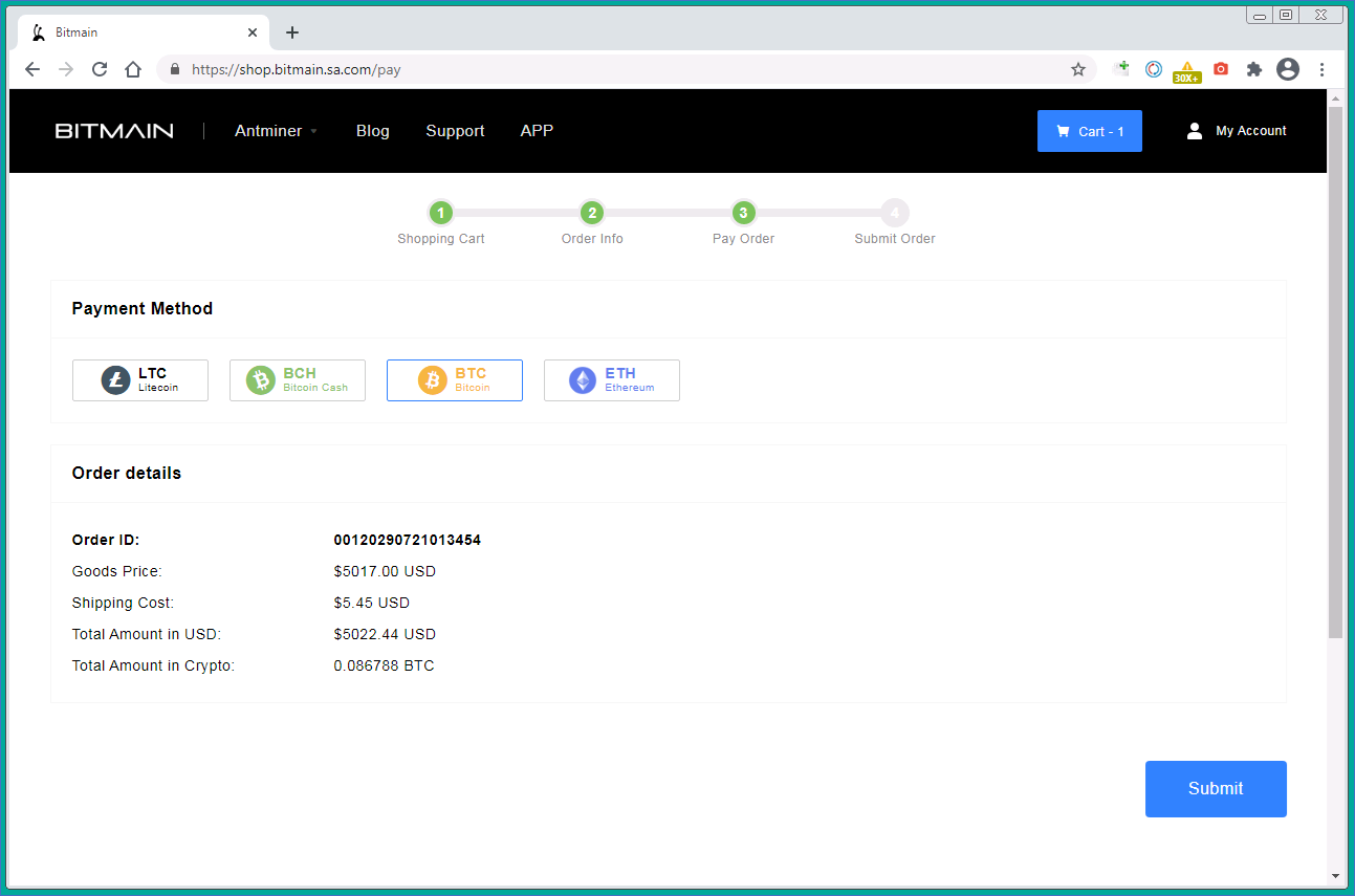 Elegir un método de pago: Bitcoin, Ethereum, Bitcoin Cash o Litecoin