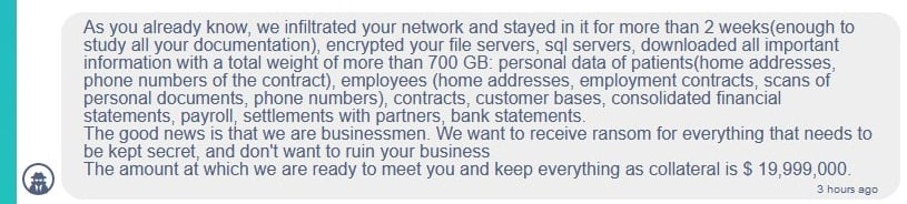 "Demanda de rescate de Conti. Fuente: <a href=""https://www.bleepingcomputer.com/news/security/ireland-s-health-services-hit-with-20-million-ransomware-demand/"" target=""_blank"" rel=""nofollow noopener"">Bleeping Computer. </a>"