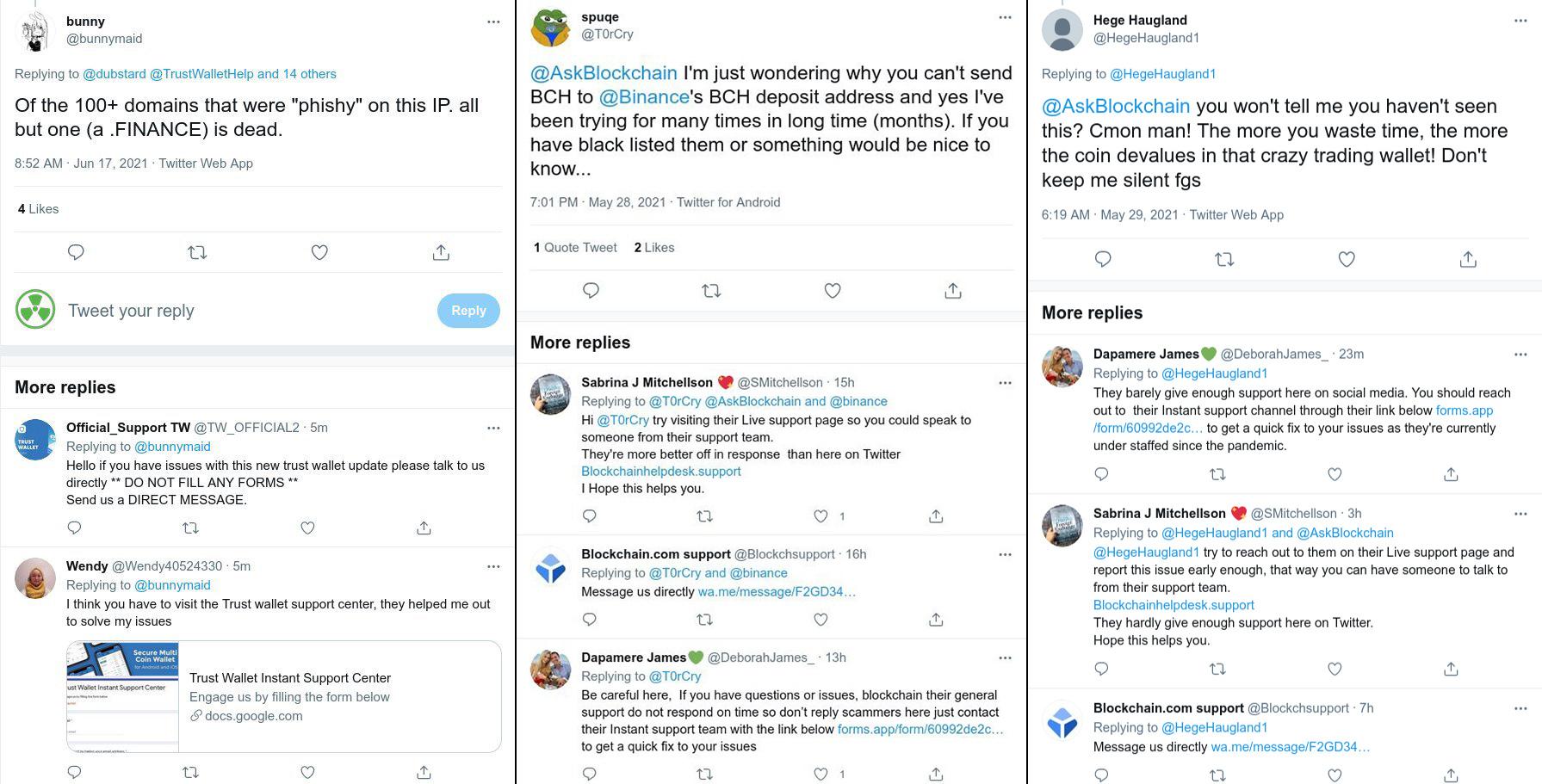 Los estafadores tratan de simular las cuentas de marcas en Twitter de Blockchain y Trustwallet y atraen a los usuarios a mensajes directos, o pretenden ser usuarios amables que publican enlaces (falsos) para sitios de soporte. Capturas de pantalla de @Malwarehunterteam
