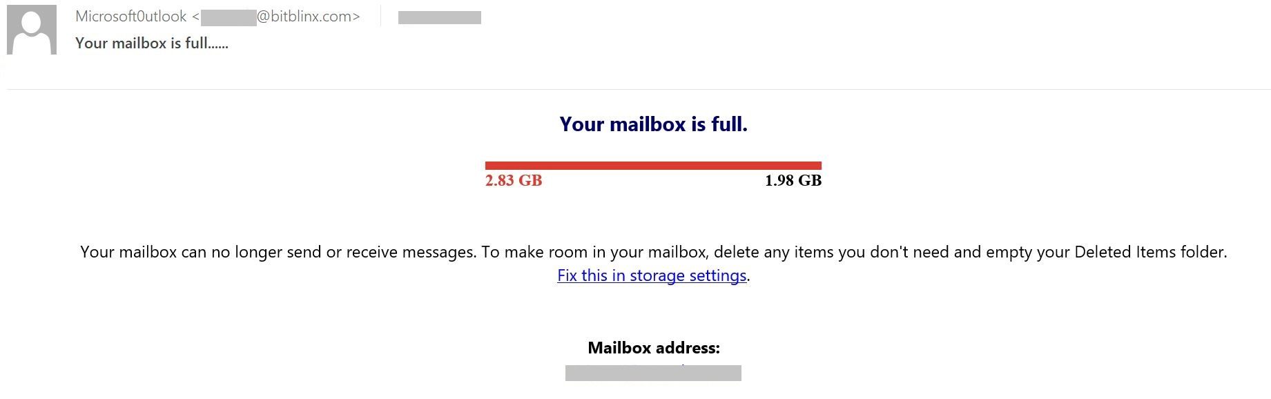 Un correo electrónico típico de phishing que utiliza la estafa de casilla de correo llena.