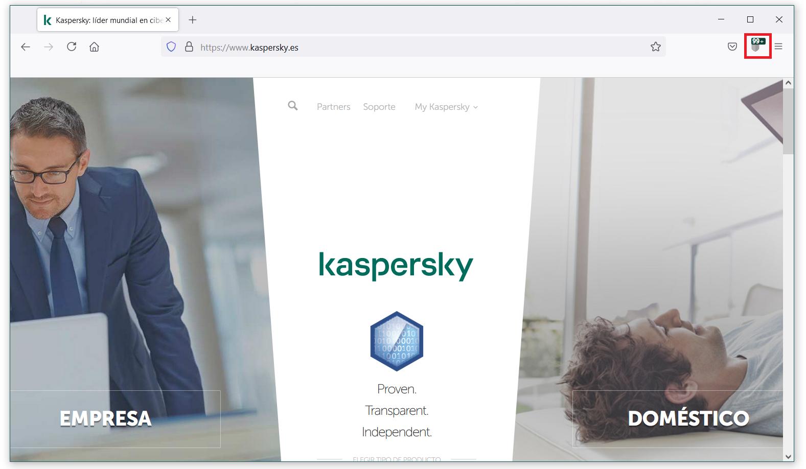 Si ya tienes instalada la extensión de Kaspersky Protection, su ícono debería aparecer en la barra de navegación del navegador