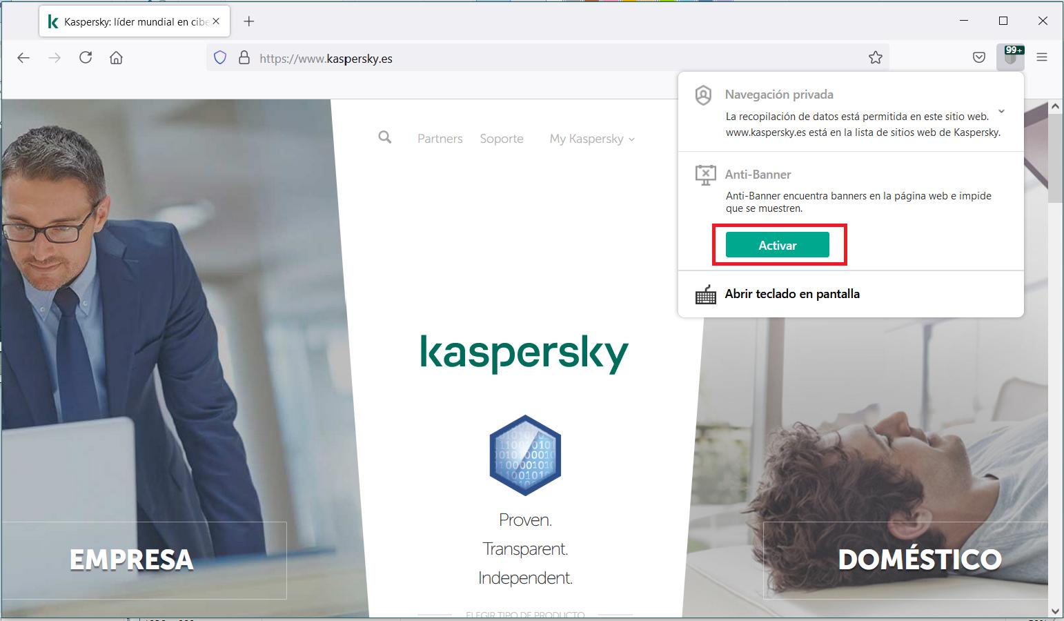 Activar Anti-Banner en Kaspersky Security Cloud mediante el menú de la extensión de Kaspersky Protection
