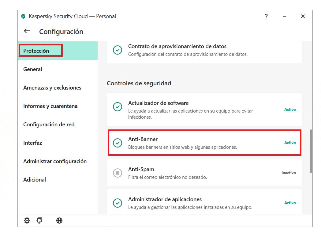 Activar Anti-Banner en el menú principal de Kaspersky Security Cloud