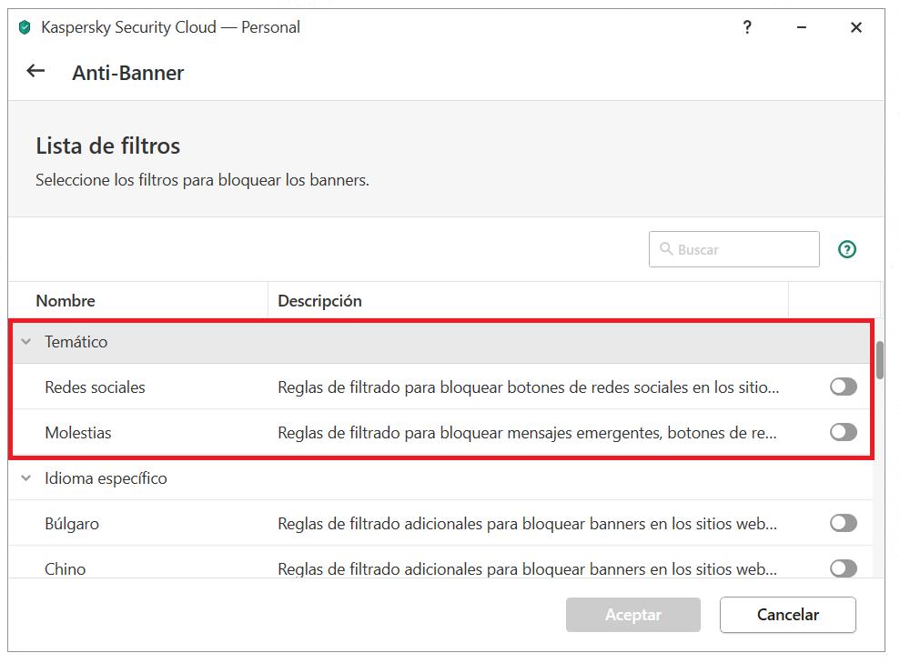 Configuración de Anti-Banner en Kaspersky Security Cloud