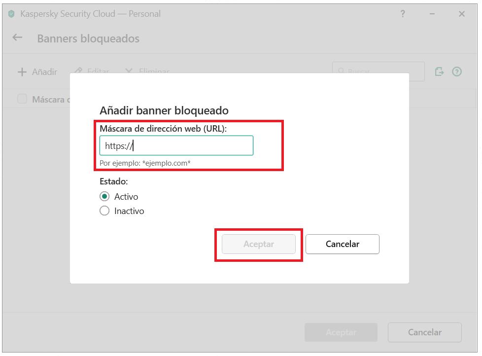 Añadir un banner a la lista de bloqueo en Kaspersky Security Cloud