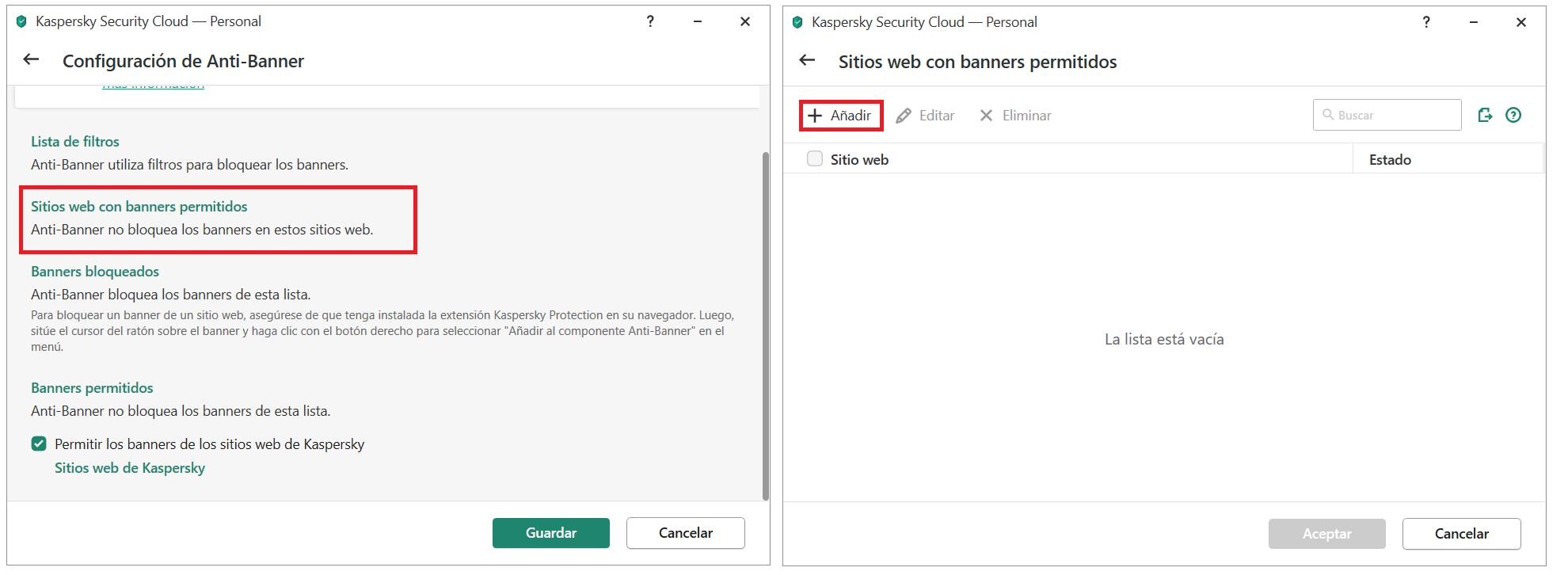 Añadir un banner a la lista de sitios permitidos en Kaspersky Security Cloud