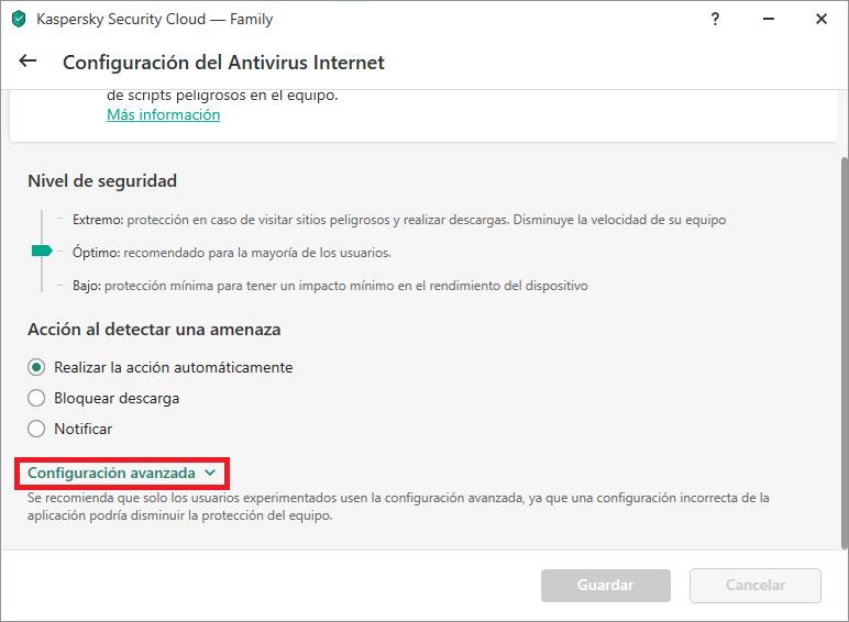 Ajustes de Antivirus Internet en Kaspersky Internet Security o Kaspersky Security Cloud