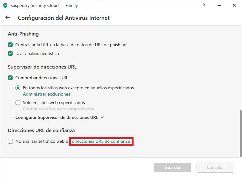 Lista de configuraciones avanzadas de Web Antivirus en Kaspersky Internet Security o Kaspersky Security Cloud