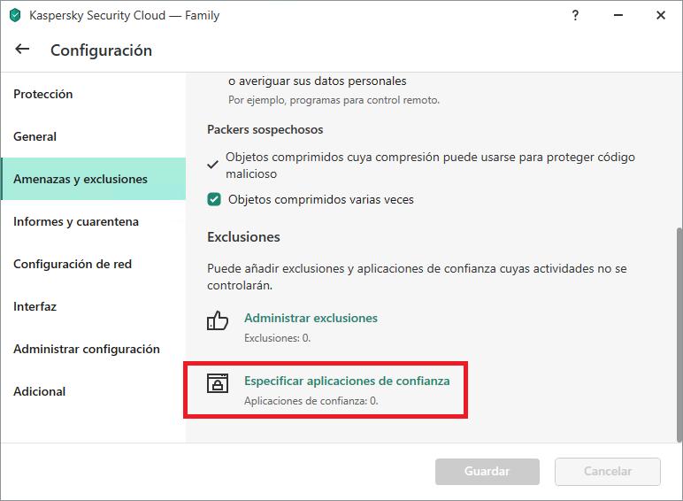 La configuración de Aplicaciones de confianza en Kaspersky Internet Security, Kaspersky Total Security y Kaspersky Security Cloud