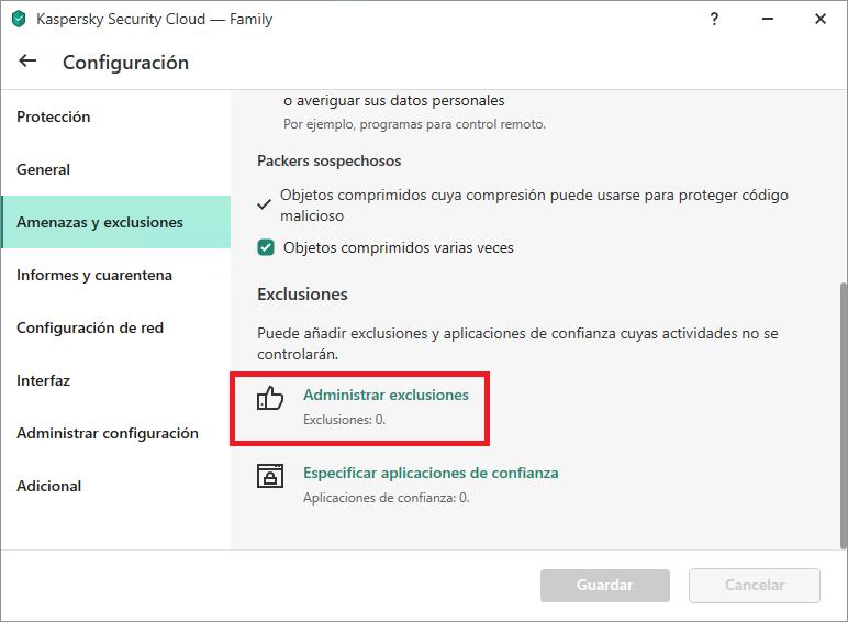 La configuración de exclusión en Kaspersky Internet Security, Kaspersky Total Security y Kaspersky Security Cloud