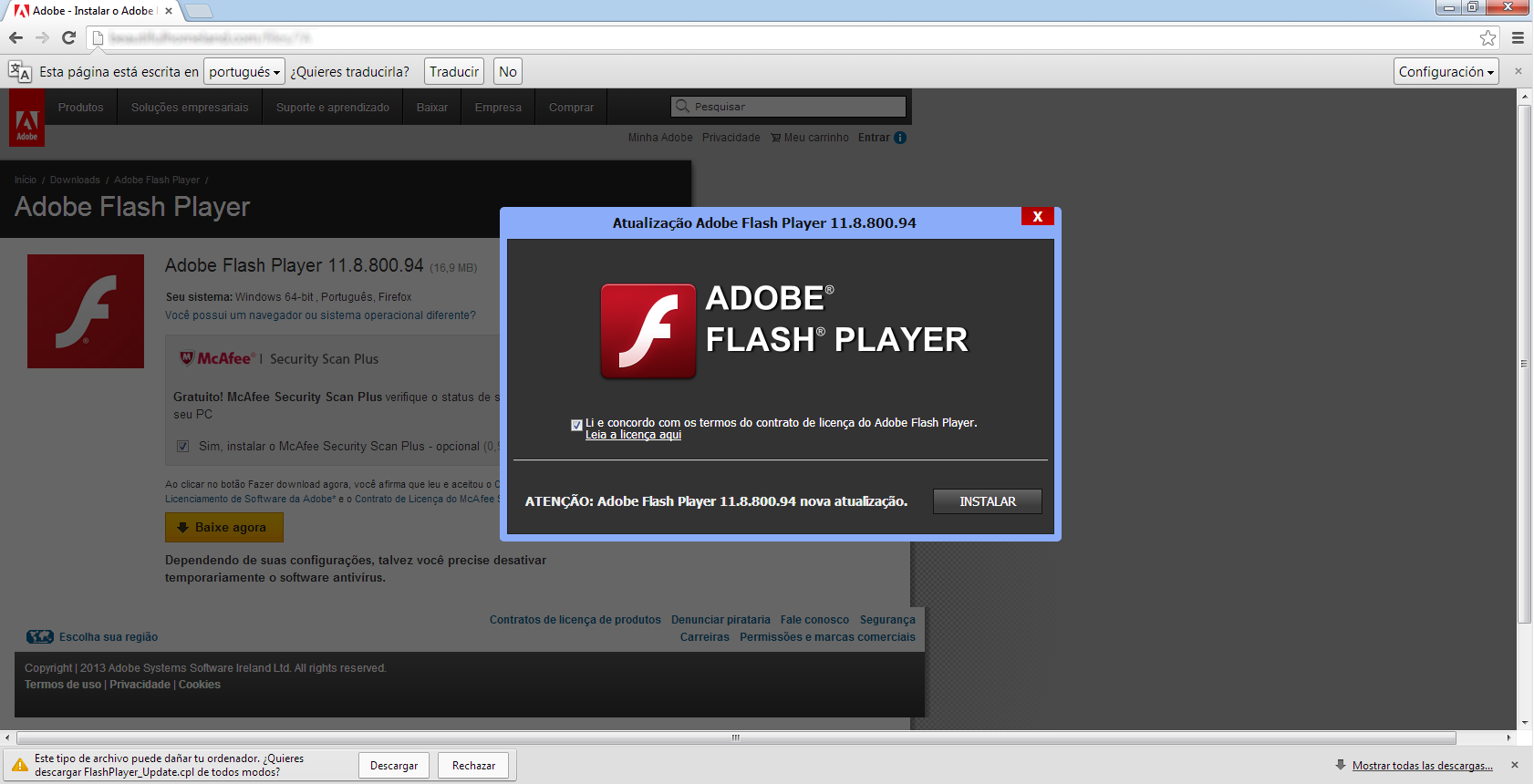 Página web donde se usaba una actualización falsa de Flash Player para infectar el equipo e instalar el software malicioso en el sistema de la víctima.