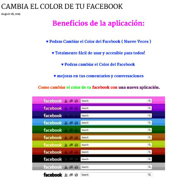 estafa cambiar color de facebook