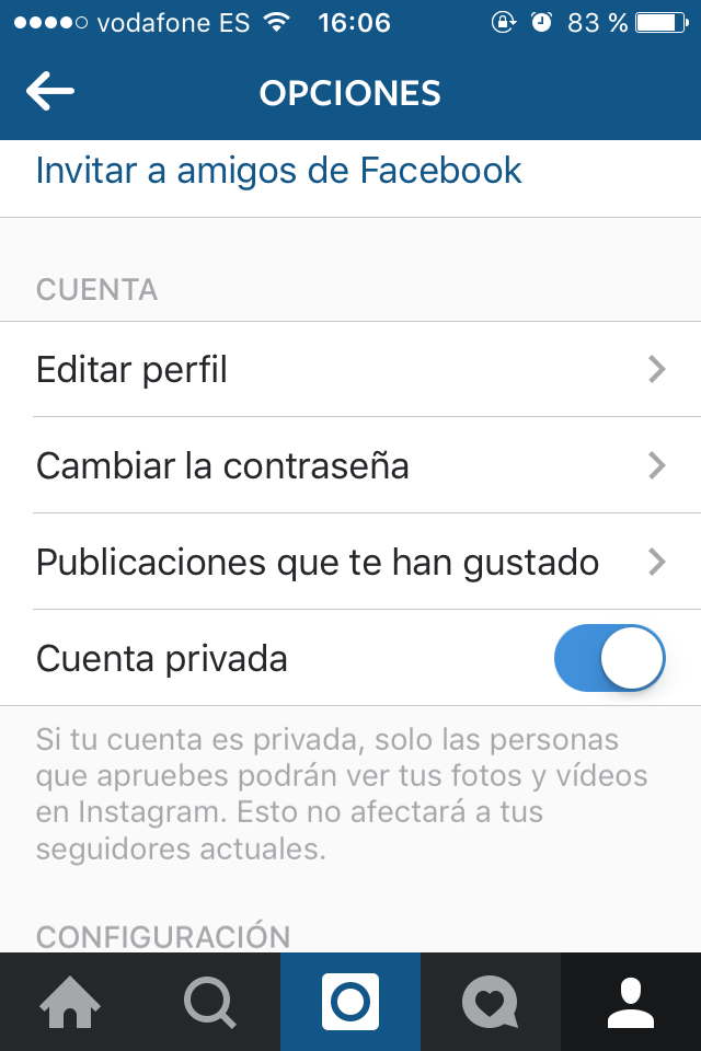 Configurar instagram privado