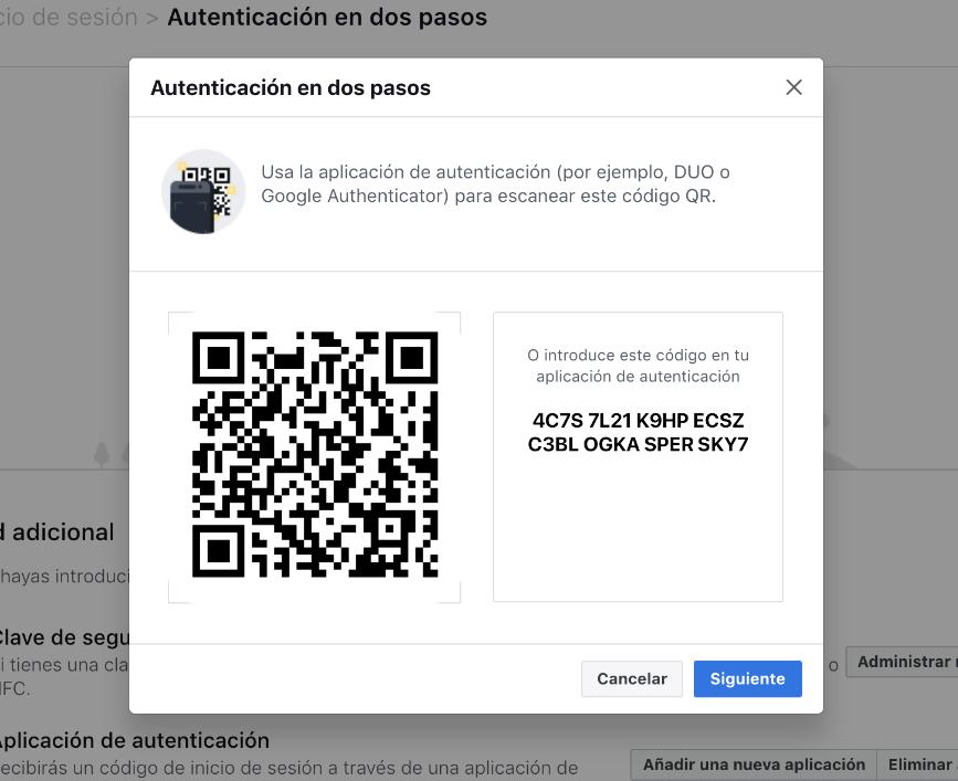 Cómo activar una aplicación de doble factor en Facebook