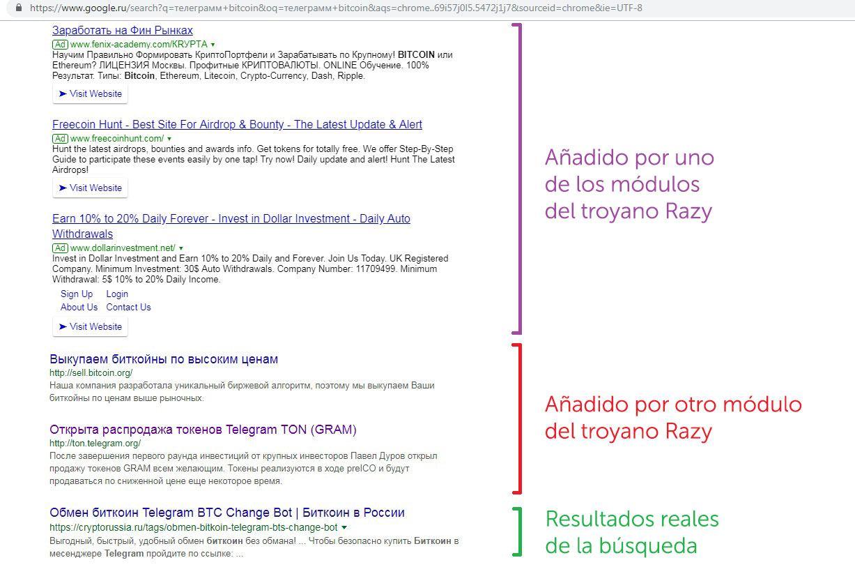 El troyano Razy añade enlaces phishing, muchos, a los resultados de la búsqueda