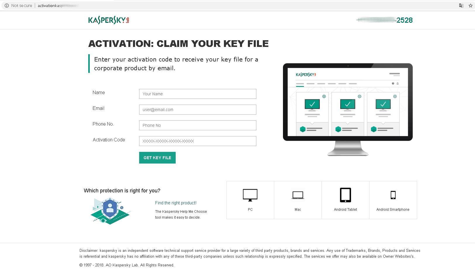Este sitio web de soporte técnico falso de Kaspersky Lab solicita el código de activación de antivirus del usuario
