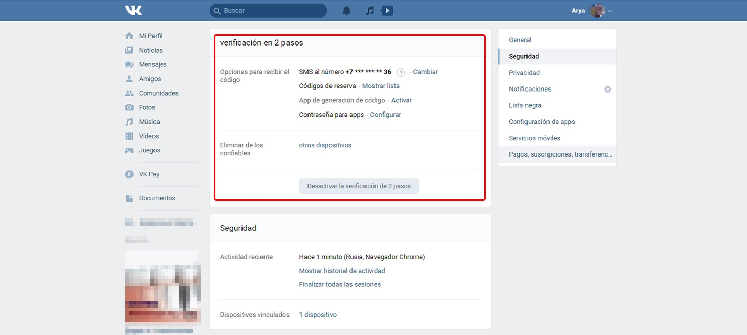 Cómo configurar VK: las opciones de verificación en dos pasos