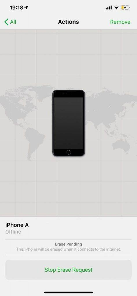 """La función """"borrar iPhone"""" en pendiente en la aplicación Buscar mi iPhone"""