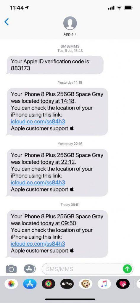 Otros mensajes de phishing que se hacen pasar por Buscar mi iPhone