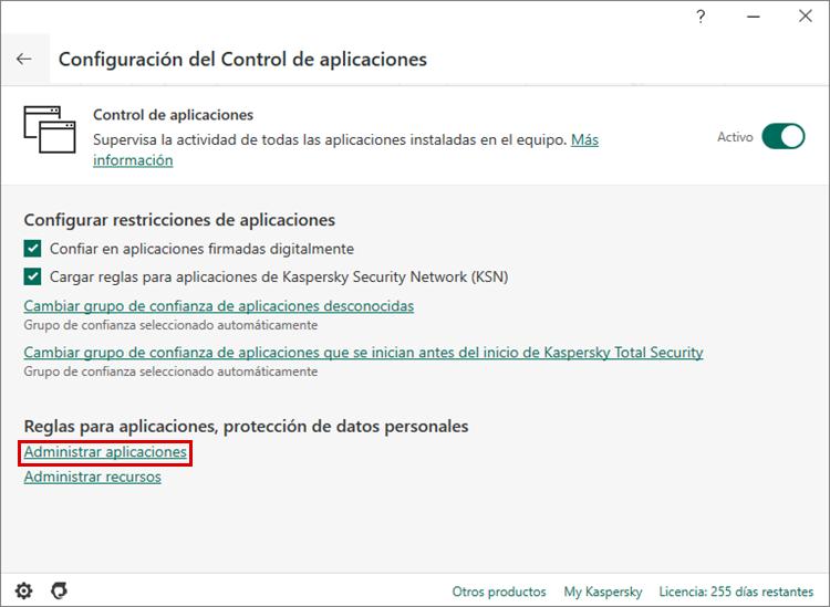 Cómo configurar las reglas y exclusiones para Steam en Kaspersky Internet Security