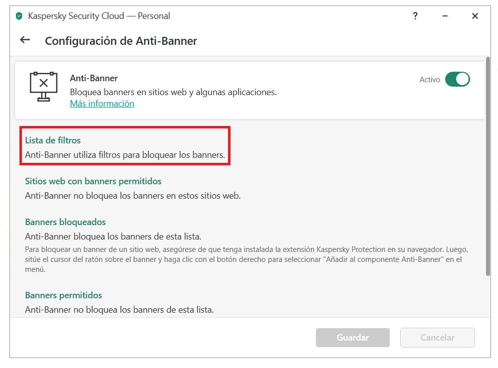 Cómo configurar Anti-Banner en Kaspersky Security Cloud
