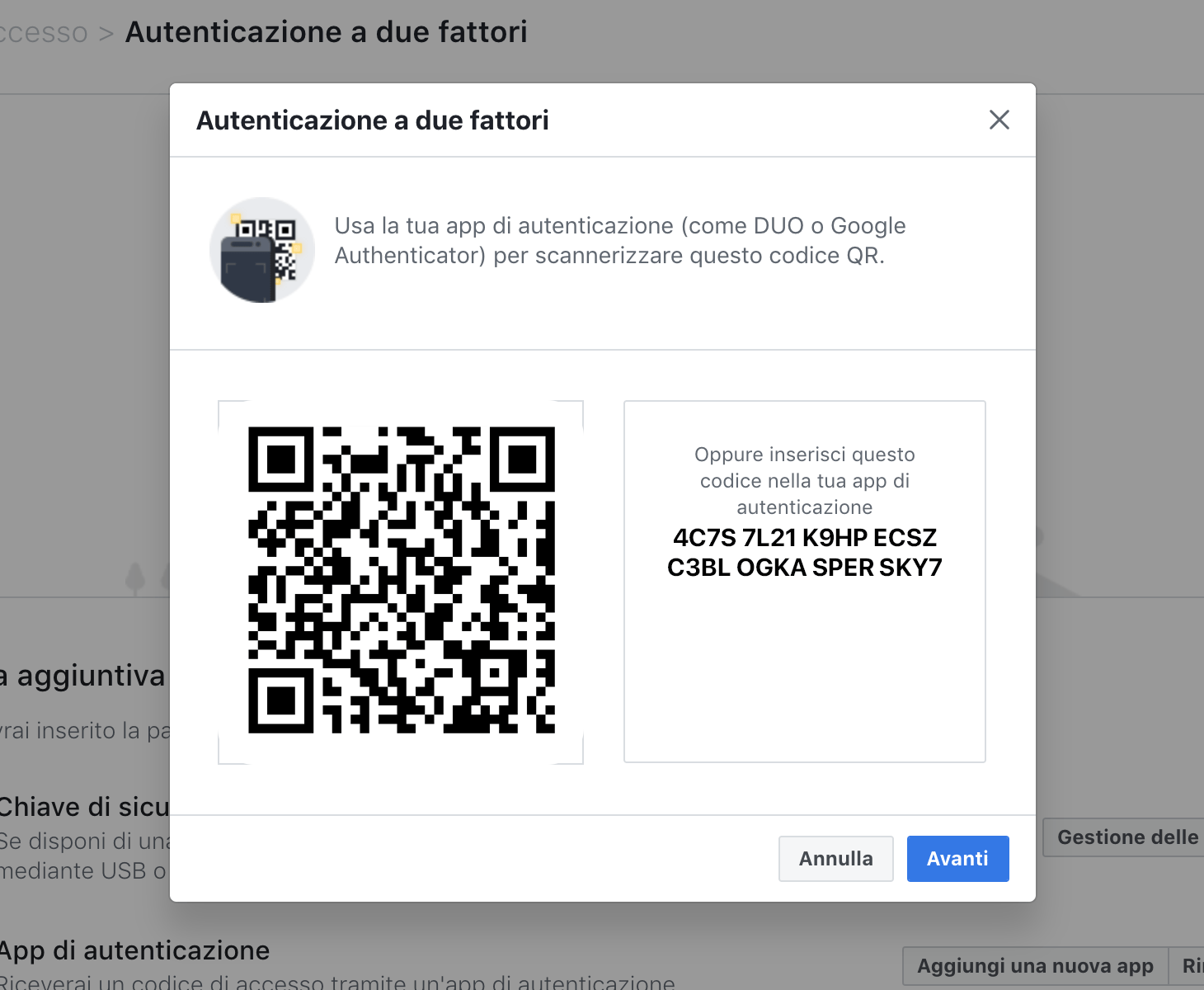 Come attivare un'app di autenticazione su Facebook
