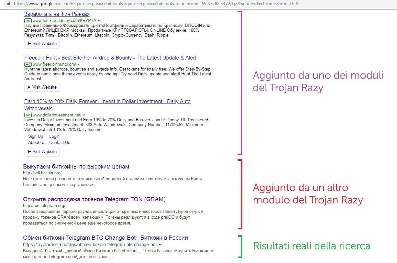Il Trojan Razy aggiunge link, tanti link, di phishing ai risultati di ricerca.]