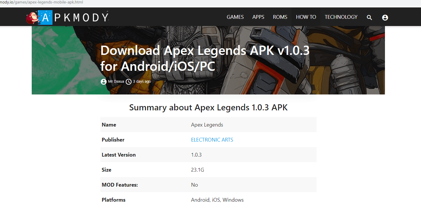 Pagina di download del falso Apex Legends APK.
