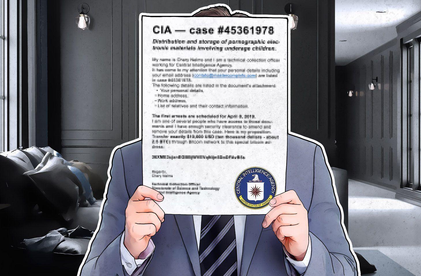 In un'e-mail che sembra inviata dalla CIA, l'utente viene minacciato di arresto per pedopornografia, che può essere evitato pagando un riscatto.