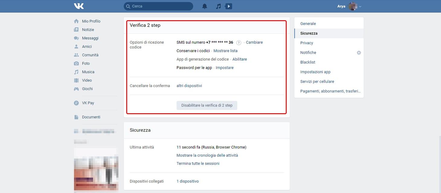 Impostazioni VK: opzioni per la verifica in due passaggi