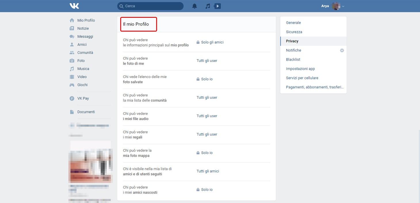 Impostazioni VK: Visibilità de Il mio profilo